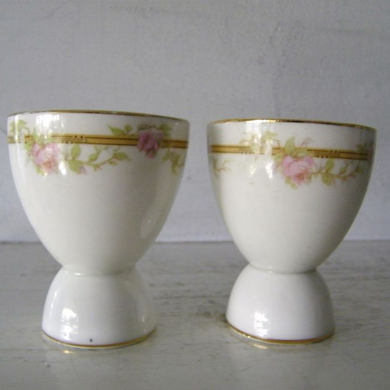 2 Porcelain Floral Egg Cups Pink Roses Shabby Chic