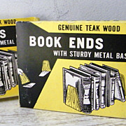 Genuine Teak Wood Book Ends Mint! still in Package