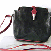 VIGANT Black Red Italian Leather Shoulder Bag Cross body Purse