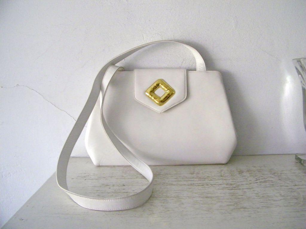 Frances Patiky Stein White Italian leather Shoulder Bag Purse Mint
