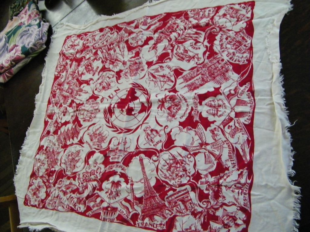 "Vintage United Nations Tablecloth 32"" Square"