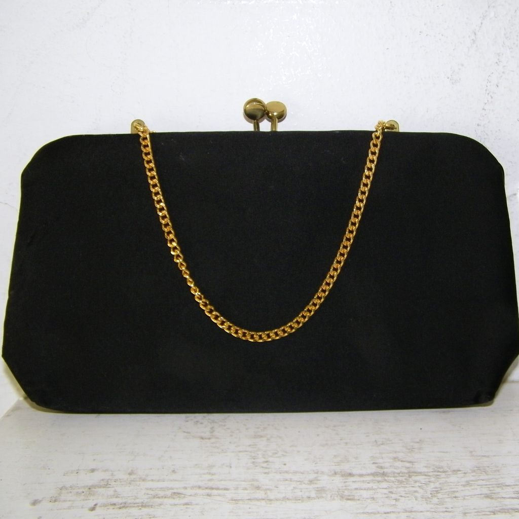 Bobby Jerome Black Silk Clutch Handbag with Gold Chain Handle