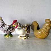 3 Vintage Ceramic Rooster planters