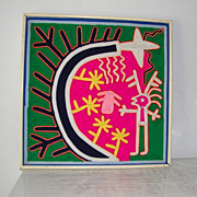 "15 1/2"" Huichol Yarn Art Painting Folk Art Mexico"
