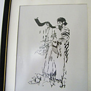 Rabbi Blowing Shofar framed art print