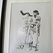 Rabbi Blowing Shofar framed art print