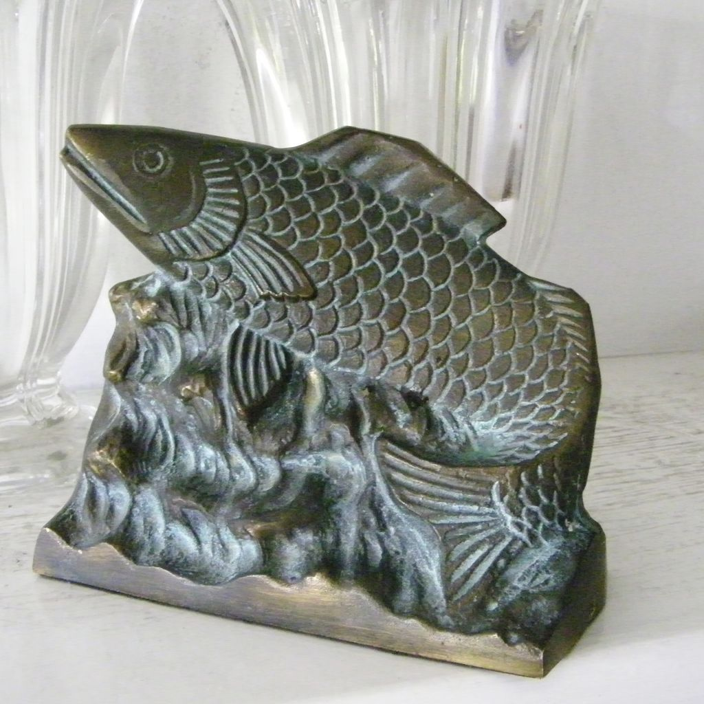Vintage Heavy Brass Bass Fish Book End