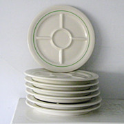 7 Mint vintage divided Fondue Plates Shenango China Restaurant Ware 1956