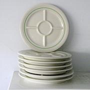 7 Mint vintage divided Fondue Plates Shenango China Restaurant Ware 1956