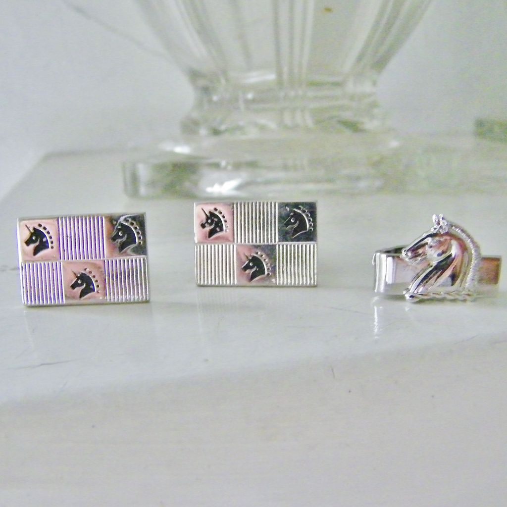 Trojan Horse Cufflinks and Tie Clip