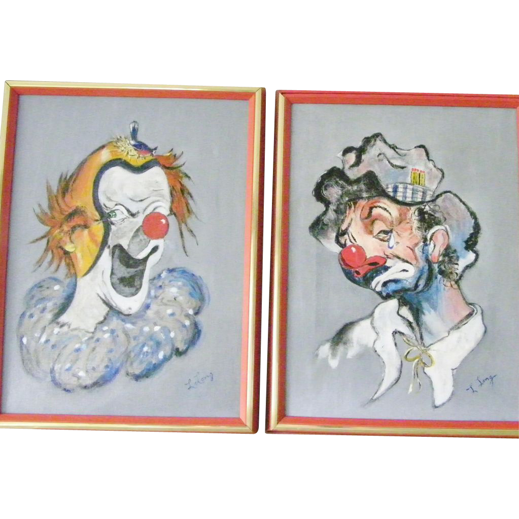 50% OFF Two LARGE Framed and Signed Original Clown Paintings by Lang