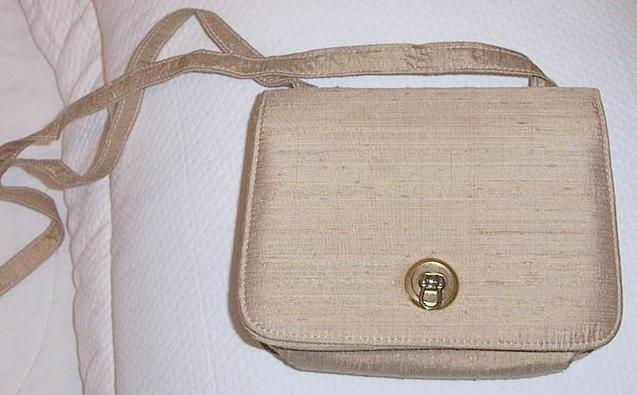 Beige Raw  Silk Shoulder Bag  Mint!
