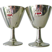 TWA Stainless Steel Wine Goblets FREE ship!