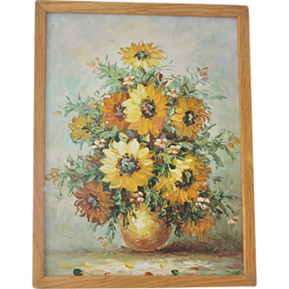 Big Framed Bold Colorful Original Sunflower Painting on Stretched Canvas