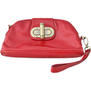 :Nordstrom Red Leather Wristlet Clutch Purse