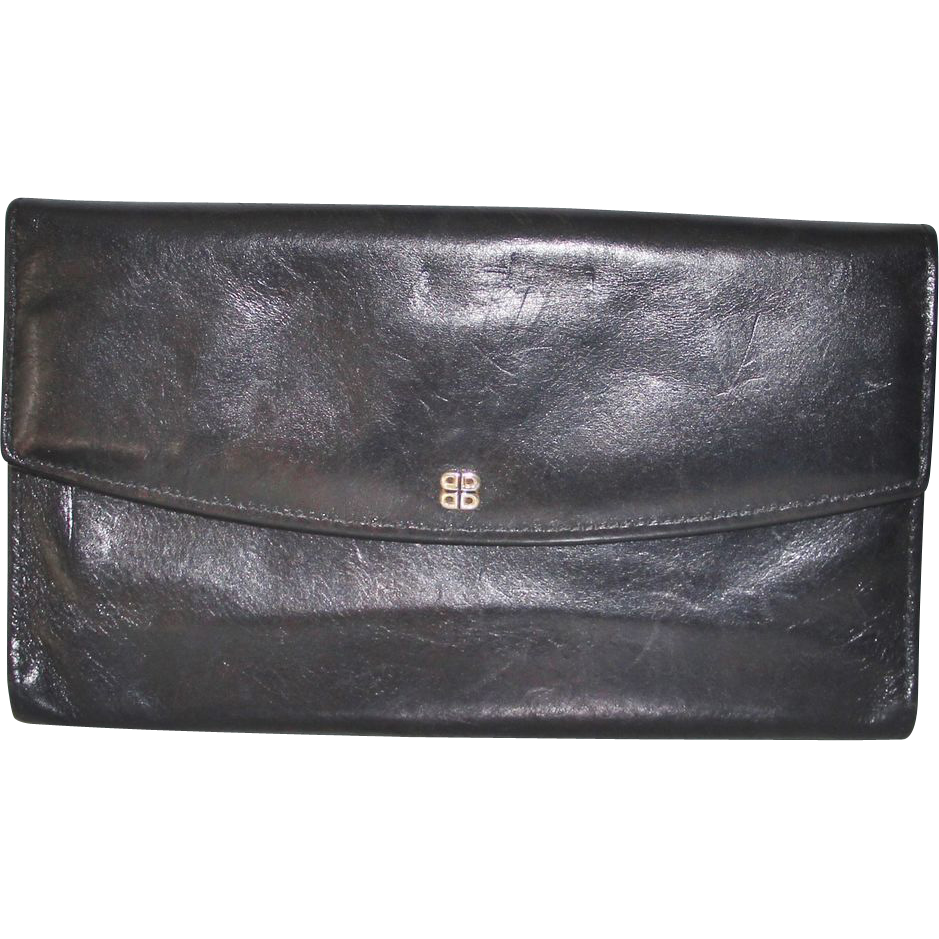Hand Stained Black Leather Bosca Checkbook Clutch Wallet