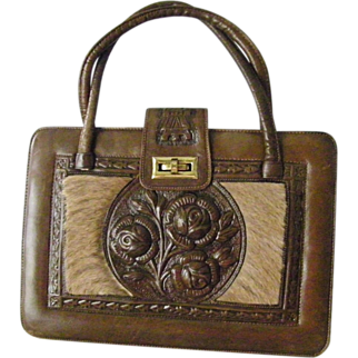 Extra Large Hand Tooled Leather Purse Mexico Never Used
