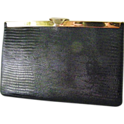 Etra Black Lizard Skin Leather Clutch convert to Handbag