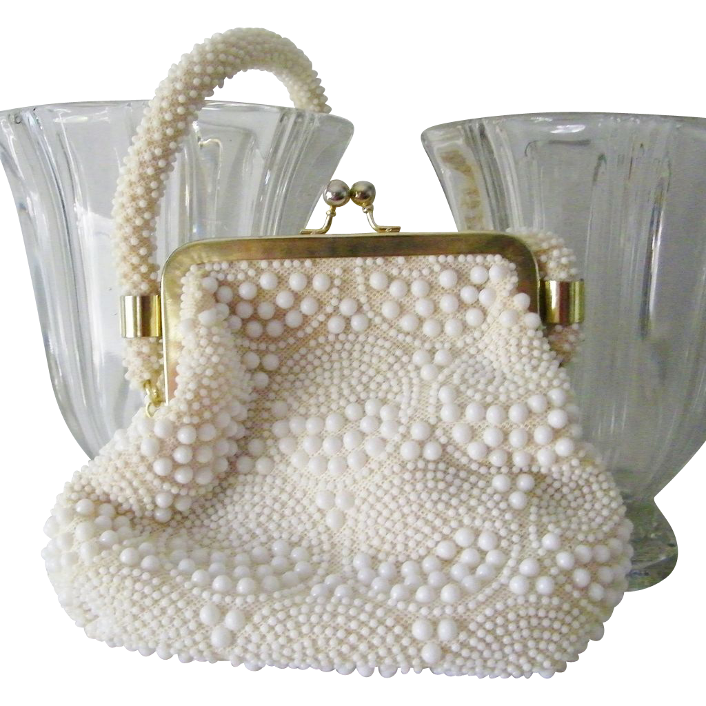 White Beaded Handbag Hong Kong Excellent Condition