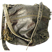"LARGE American Rag Gold tone metallic Purse Handbag soft sided 13"" Adjustable"