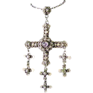 Vintage Yalalag Cross Taxco 925 Silver Amythest necklace 24 inch chain