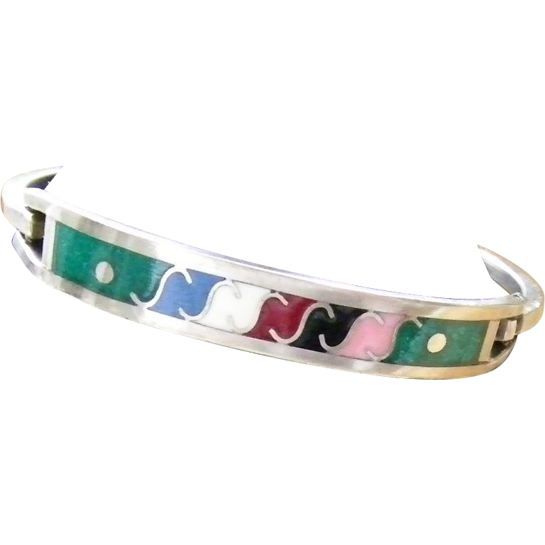 Mexican Silver and Enamel Hinged Bracelet 13.1 grams