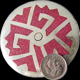 large vintage Mexican Aztec Modernist Silver Brooch
