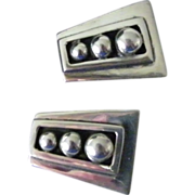 Mexican 925 Silver Clip Earrings trapezoid shape 16 grams
