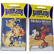 2 new Vintage Mickey Mouse 48 Bookplates Ex Libris Nameplates Disney Collectible Mint
