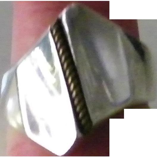 Taxco Silver Modernist Ring size 8.5 Vermeil braid motif