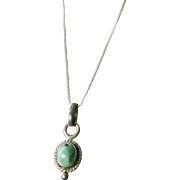 "Turquoise and Silver Pendant 16"" Snake Chain"
