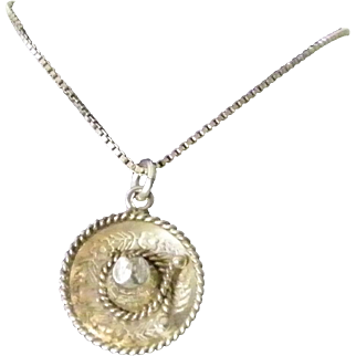 Vintage Sterling Silver Mexican Sombrero Necklace 16 inch Italian chain