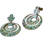 Vintage Silver and Turquoise Triple Hoop Drop Earrings