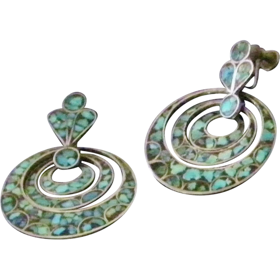 Vintage Silver and Turquoise Triple Hoop Drop Earrings