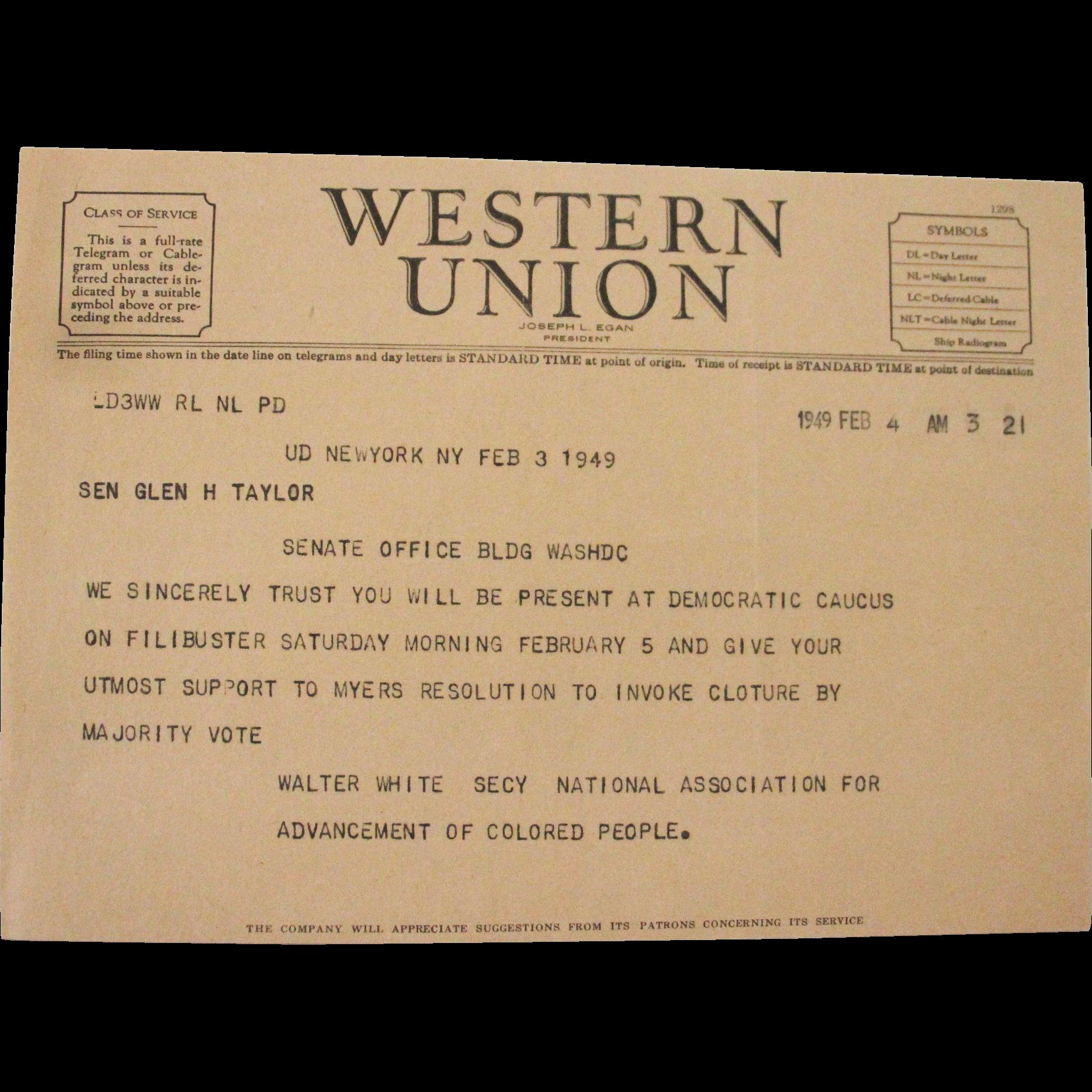 Western Union Telegram February 1949 Filibuster NAACP
