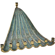 Vintage Brass Enamel Hanukkah Menorah Freefall