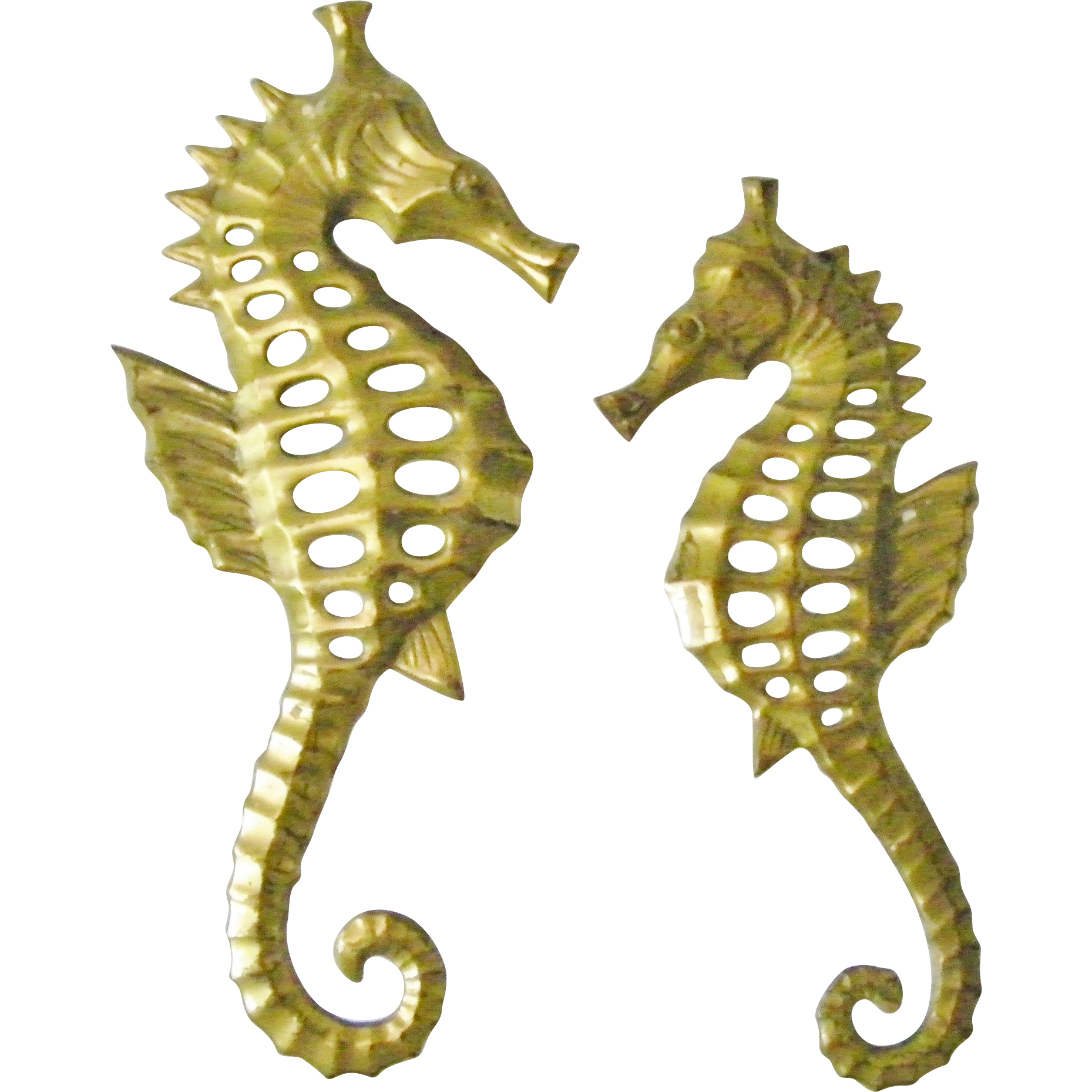 pair of brass seahorse wall hanging decor sea horse figurine plaque sold on ruby lane. Black Bedroom Furniture Sets. Home Design Ideas