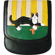Taxi the Original compact leather Wallet cat motif mint handpainted