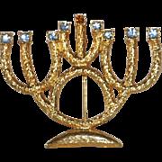 Signed Hanukkah Menorah Brooch 9 Rhinestones