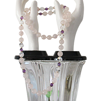 32 inch Vintage Rose Quartz amethyst and faceted crystal bead necklace