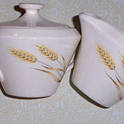 Wheat Design Sugar Bowl & Creamer Set