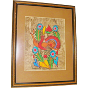 Original Mexican Amate Bark Art bird, hearts and flowers