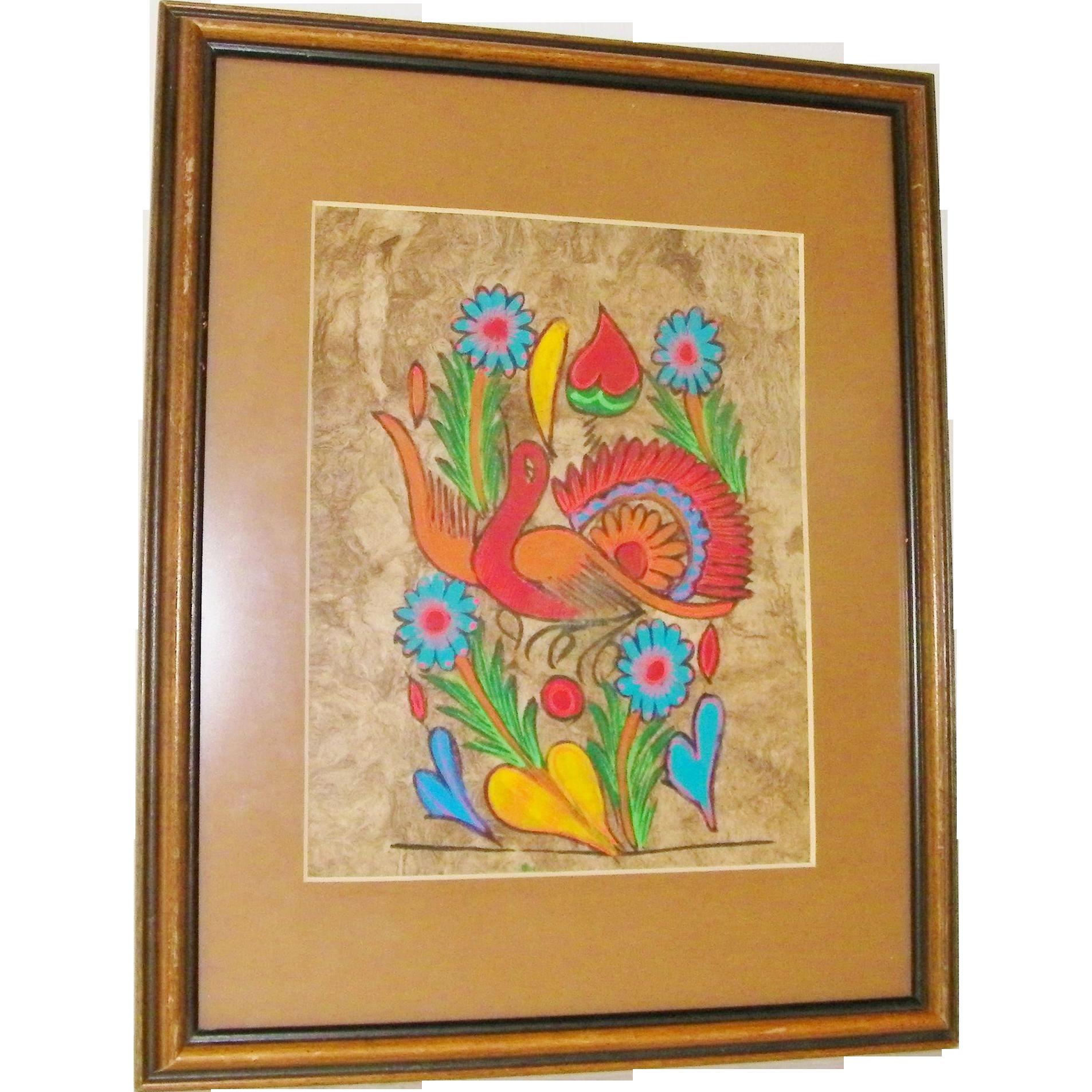 Original Mexican Amate Bark Art bird, hearts and flowers