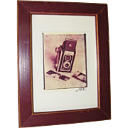 Signed and Framed Antique Camera and Sepia Prints