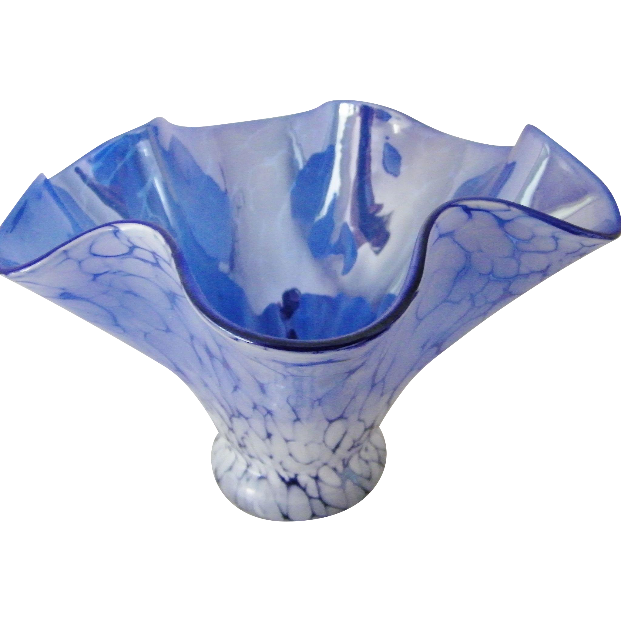 Hand made iridescent sky blue Crackle Art Glass Vase Handkerchief Style