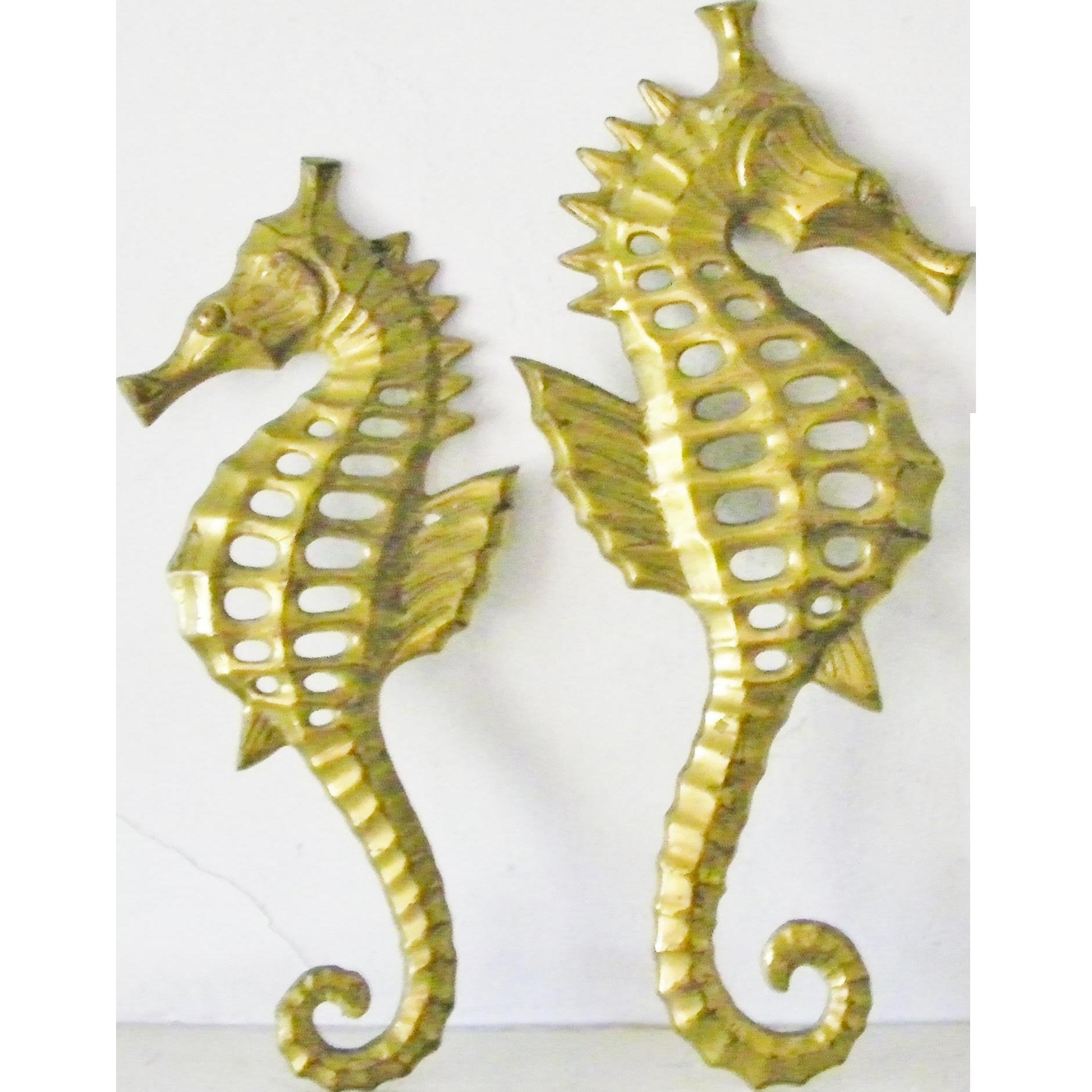 Seahorse Wall Decor pair of brass seahorse wall hanging decor sea horse figurine