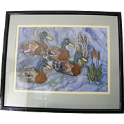 Large signed framed Mallard Duck painting Unique