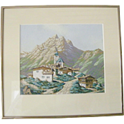 Original Watercolor Landscape, Alpine Village