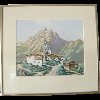 Original Watercolor Landscape, Alpine Village
