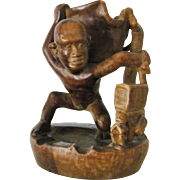Carved wood pipe holder figurine serpent folk art